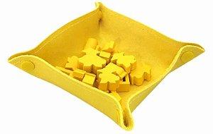 Bandeja de Peças em Couro Ecológico Amarelo 13x13 cm