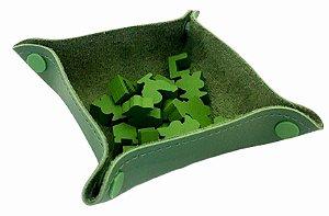 Bandeja de Peças em Couro Ecológico Verde 13x13 cm
