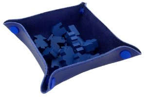 Bandeja de Peças em Couro Ecológico Azul 13x13 cm