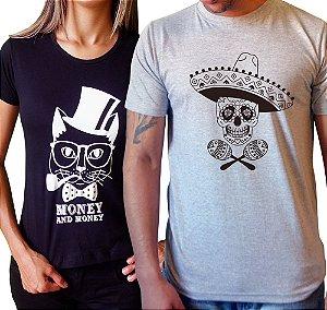 Duo Baby look Gato Money & Camiseta Caveira Mexicana