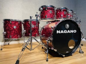 """Bateria Nagano Concert Full Celluloid Red Abalone 22"""" 10"""" 12"""" 14"""" 16"""" + cx 14x6,5"""""""