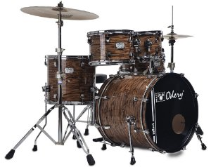 "Bateria Odery Inrock Gold Tiger 20"" 10"" 12"" 14"" + Caixa 14x06"""