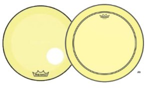 "Kit de Peles Remo Powerstroke 3 Colortone Batedeira + Resposta Amarela p/ Bumbo 18"""