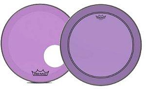 """Kit de Peles Remo Powerstroke 3 Colortone Batedeira + Resposta Roxa p/ Bumbo 18"""""""