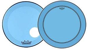 """Kit de Peles Remo Powerstroke 3 Colortone Batedeira + Resposta Azul p/ Bumbo 18"""""""