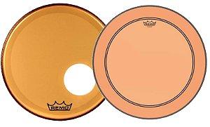 "Kit de Peles Remo Powerstroke 3 Colortone Batedeira + Resposta Laranja p/ Bumbo 22"""