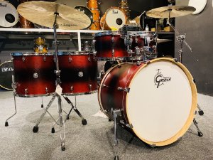 "Bateria Gretsch Catalina Ash Alexandre Aposan Red Black Burst 22"" 10"" 12"" 16"" 18"" + Caixa 14x6,5"" Shellpack"