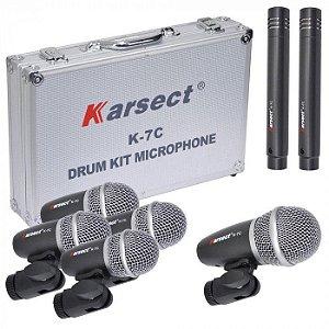 Kit de Microfones p/ Bateria Karsect c/ 7 unidades - K-7C