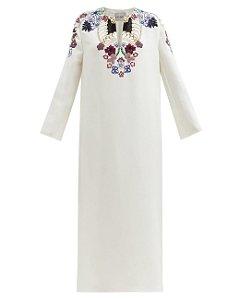 Valentino -  Beaded embroidered silk-cady midi dress |