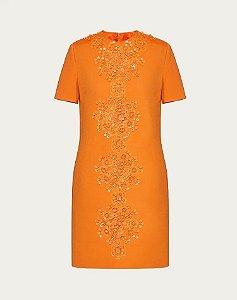 VALENTINO - Vestido Curto Bordado Em Stretch Crepe Couture / Ss2020