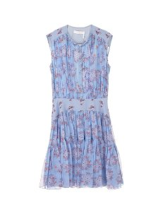 Chloe - Vestido de seda com pregas e estampa floral  / Ss20