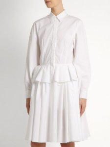 Givenchy - Point-collar fluted-peplum cotton dress