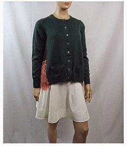 Sacai - Cardigan trico e renda