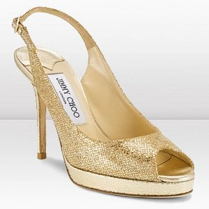 Jimmy Choo - Gold Glitter Fabric Platform Slingback