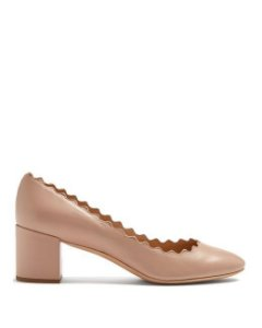 Chloé - Natural Lauren Scalloped Patent-leather Pumps