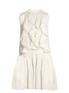 CHLOÉ Ruffle -trimmed sleeveless linen dress