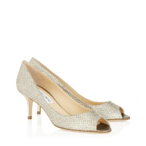 Jimmi Choo - Champagne Glitter Leather 'Isabel' Peep Toe Pumps
