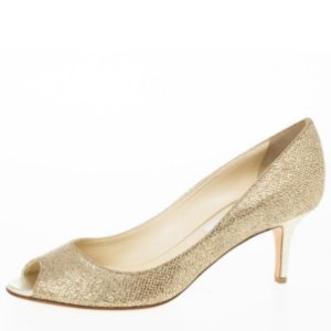 Jimmi Choo - Gold Glitter Leather 'Isabel' Peep Toe Pumps