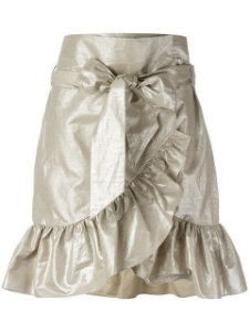 ISABEL MARANT - COTTON & LINEN ASYMMETRIC RUFFLED SKIRT