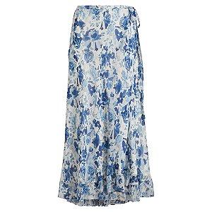 Rauph Lauren - Floral Crinkle Silk Wrap Skirt