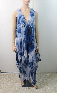 Chanel - Vestido tie die longo em seda