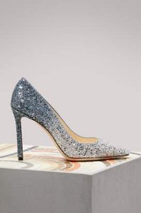 Jimmy choo - Romy 85 Silver and Dusk Blue fireball glitter