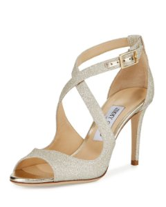 Jimmy Choo - Emily 85 Glitter Crisscross Sandals, Gold