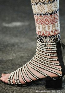 Chanel - Gladiator Pearls Flat Sandals