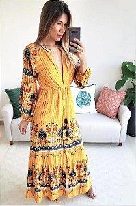 Farm - Vestido longo estampa