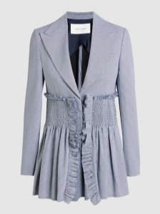 Cédric Charlier - Shirred houndstooth cotton-piqué blazer