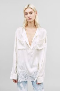 Faith Connexion Women's White Lace-trimmed Silk Blouse