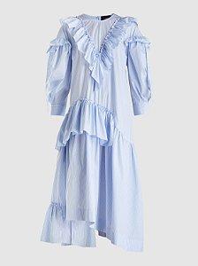 Simone Rocha - Asymmetric ruffled cotton-poplin dress