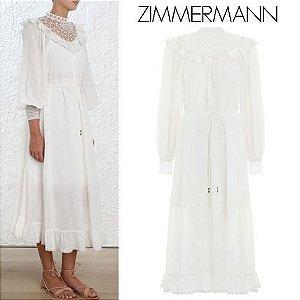 Zimmermann Flared Long Sleeves Plain Cotton Long High-Neck ( 2018 SS )