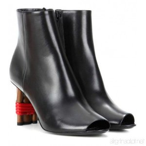 Balenciaga - Leather Peep Toe Ankle Boots