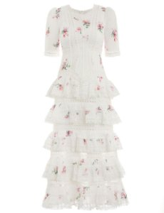 Zimmermann - White Heathers Pintuck Tiered Dress