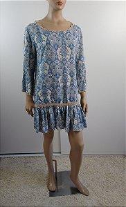 Farm - Vestido estampa azuleijo