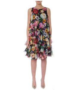 Dolce Gabbana - Floral Print Tiered Flared Dress