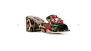 Dolce Gabbana - Sandalia de couro com estampa floral