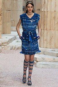 """Chanel - Vestido tweed azul / Coleção Cruize 2018 """"Paris"""""""