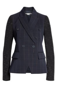 Stella McCartney - Pajama Sleeve Check Wool Jacket in Blue