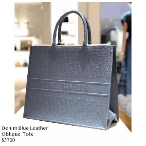 Dior - Denim blue 250000Oblique leather tote