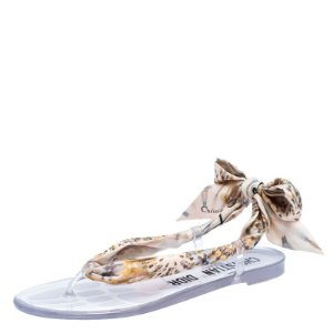 Dior Multicolor Fabric Kaleidoscope Thong Flat Sandals