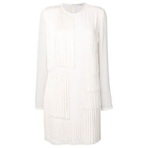 Stella McCartney Short A-line Silk U-Neck Long Sleeves Plain Fringes
