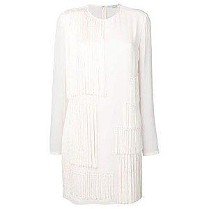 Stella McCartney Short A-line Silk U-Neck Long Sleeves Plain Fringes