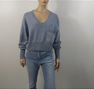 Chloé - Blusa Cropped Azul