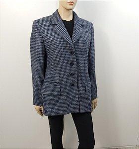 Escada - Blazer Cashmere xadrez azul