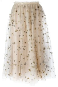 Valentino - Stars Embroidered tulle midi skirt