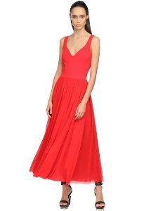 Alexander mcqueen - VISCOSE JERSEY KNIT MIDI DRESS