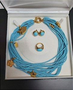 Neiman Marcus - Conjunto colar/brinco/anel ouro 18k