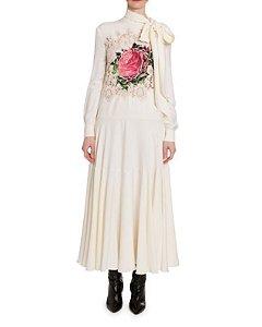 Valentino - Vestido Gravata com decote em renda rosa bordado